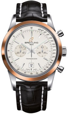 Breitling,Breitling - Transocean Chronograph 38 Steel And Gold - Croco Strap - Watch Brands Direct