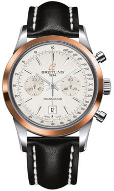 Breitling,Breitling - Transocean Chronograph 38 Steel And Gold - Leather Strap - Watch Brands Direct