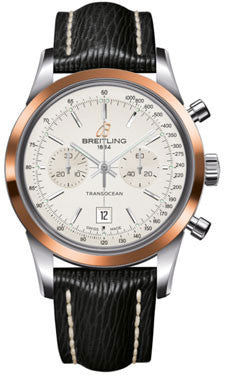 Breitling,Breitling - Transocean Chronograph 38 Steel And Gold - Sahara Strap - Tang - Watch Brands Direct
