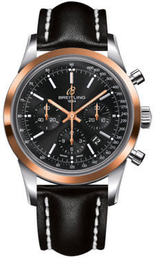 Breitling,Breitling - Transocean Chronograph Steel and Gold - Leather Strap - Watch Brands Direct