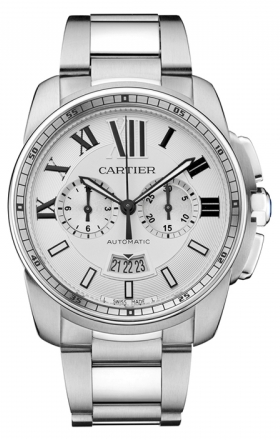 Cartier,Cartier - Calibre de Cartier Chronograph Stainless Steel - Watch Brands Direct