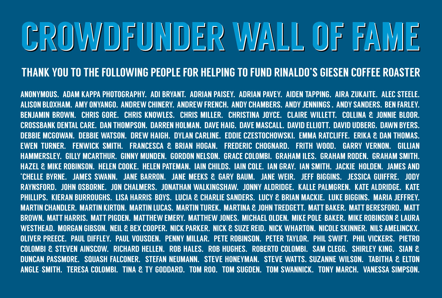 Rinaldo's Crowdfunder Wall of Fame