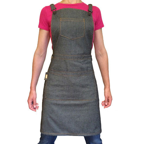 Barista Apron - 100% Organic Grey Denim - Made in Kendal