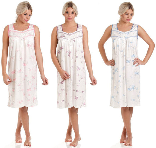 Sleeveless Cotton Jersey Nightdress In Floral Print