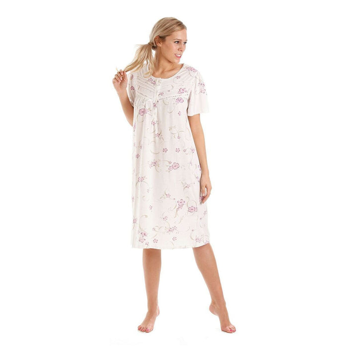 Lady Olga Short Sleeve Floral Cotton Jersey Nightdress