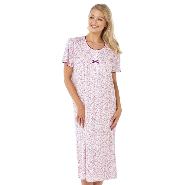 100% Cotton Jersey Lady Olga Short Sleeve Floral Nightdress