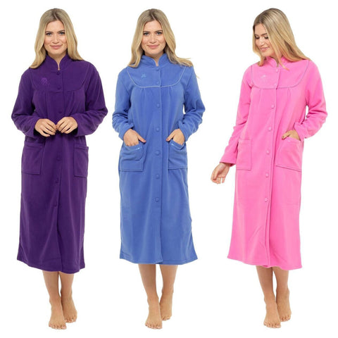 Warm Polar Fleece Button Front Dressing Gown 3 Colours