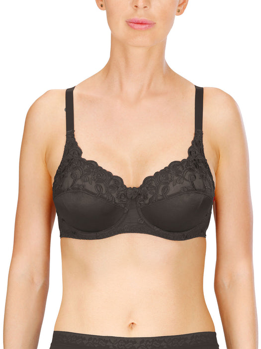 Naturana Firm Control Satin & Lace Underwired Bra Black