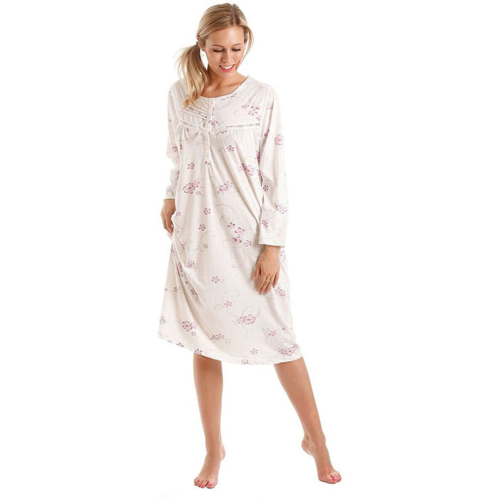 Long Sleeve Floral Cotton Jersey Nightdress