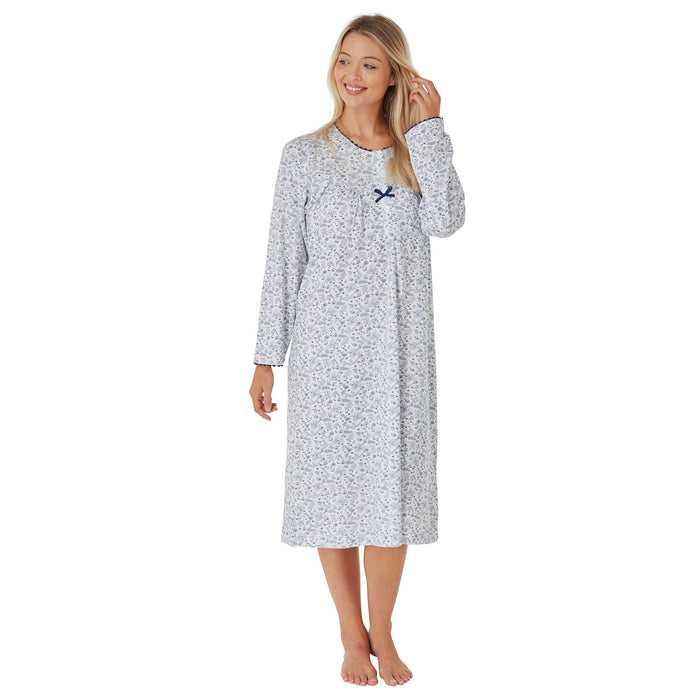 100% Cotton Jersey Lady Olga Long  Sleeve Floral Nightdress