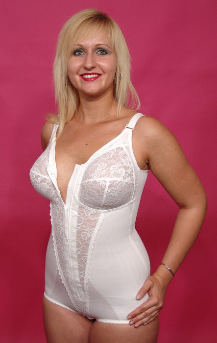 Berdita Firm Control Zip Front Corselette Body Shaper (White)96405