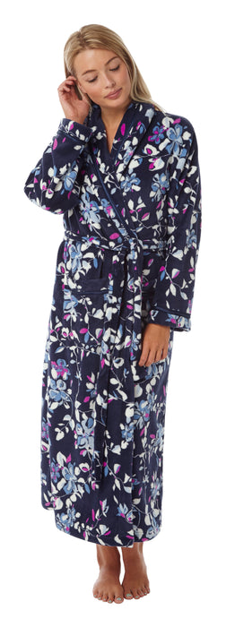Indigo Sky Luxury Supersoft Floral Print Wrap Dressing Gown