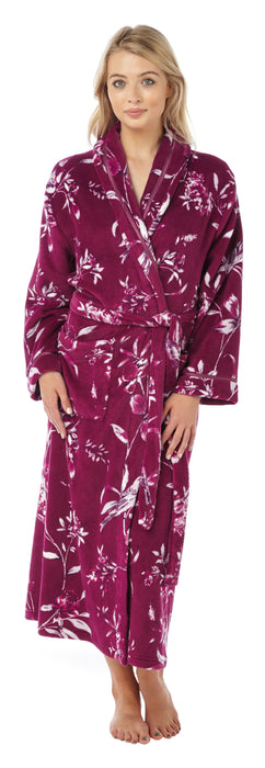Luxury Supersoft Fleece Printed Wrap Dressing Gown By Indigo Sky