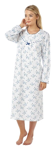 100% Cotton Long Sleeve Nightdress With Floral Print