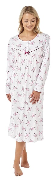 100% Cotton  Jersey Long Sleeve Nightdress With Floral Print