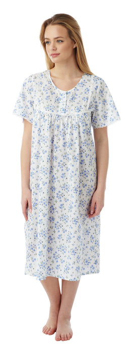 Marlon Short Sleeve Polycotton Floral Nightdress (up to size 30) Style MN11