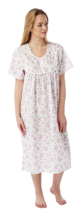 Marlon Short Sleeve Polycotton Floral Nightdress (up to size 30)