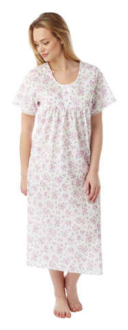 Longer Length Poly Cotton Short Sleeve Nightdress