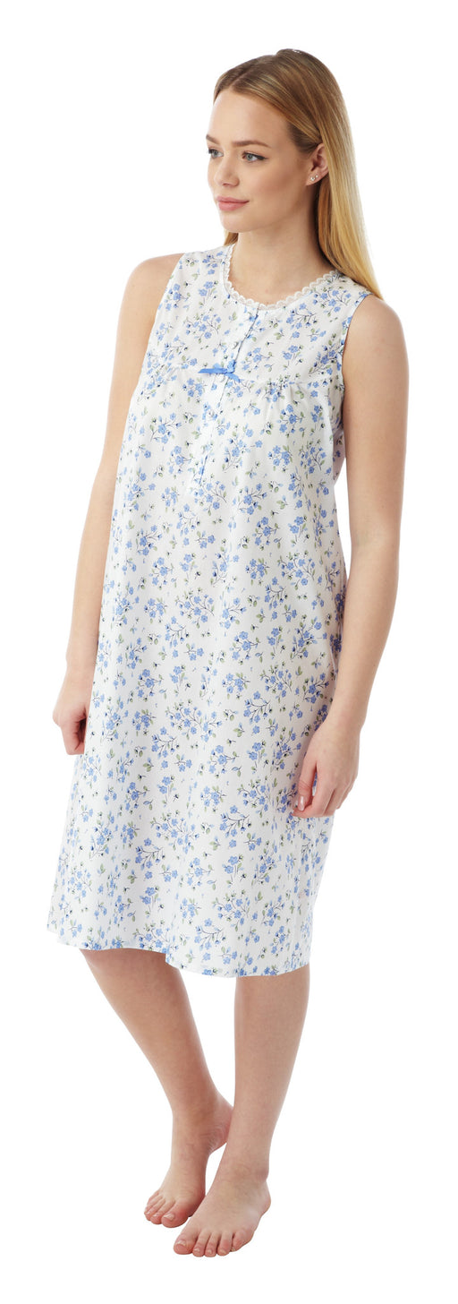Marlon Ladies Floral Poly Cotton Sleeveless Nightdress (Sizes 10-30) Style MN16
