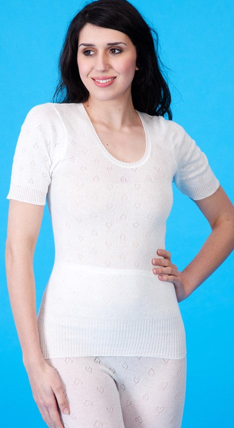 White Snowdrop Thermal Short Sleeve Spencer
