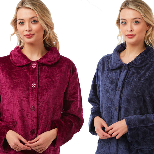 Ladies Soft Touch Embossed Effect Button Front Bed Jacket