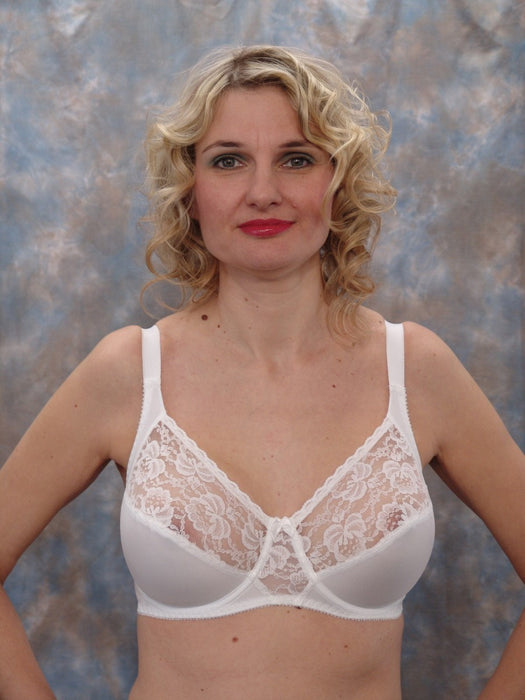 Berdita Lace Firm Control Underwired Bra (White)