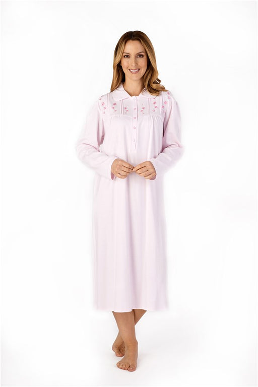 100% Cotton Jersey Nightdress With Collar By Slenderella