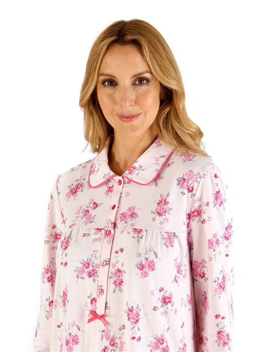 100% Bonded Cotton Jersey Long Sleeve Nightdress With Collar