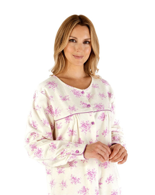 100% Double Brushed Cotton Longer Length Nightdress With Round Neck