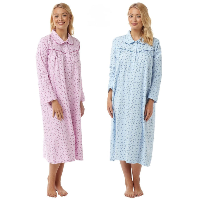 Traditional Style Double Brushed 100% Cotton Winceyette Nightdresses (2 Pack)