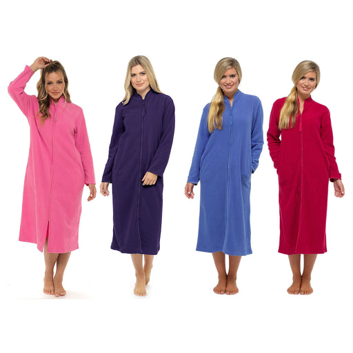 Lady Olga Ladies Polar Fleece Zip Front Dressing Gown  Colours