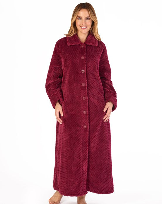 "Slenderella Luxury Waffle Fleece 52"" Button Dressing Gown"