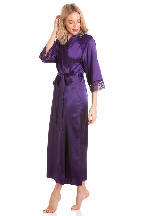 Long Satin Wrap Dressing Gown With Lace Trim