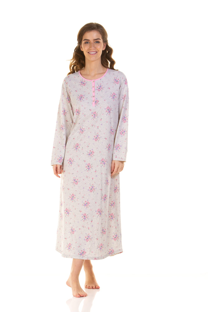 Long Sleeve Longer Length Pink Bouquet Print  Nightdress
