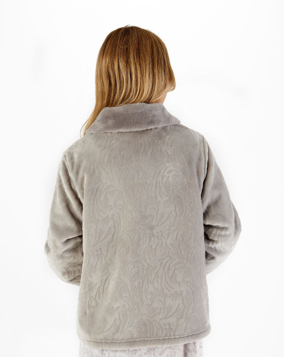 Luxury Supersoft Chevron Pattern Fleece Bed Jacket
