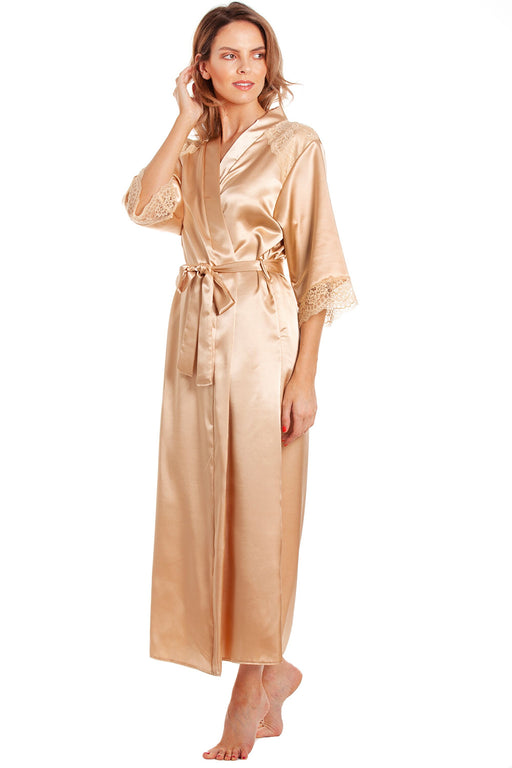 British Made Long Satin Wrap Dressing Gown With Lace Trim