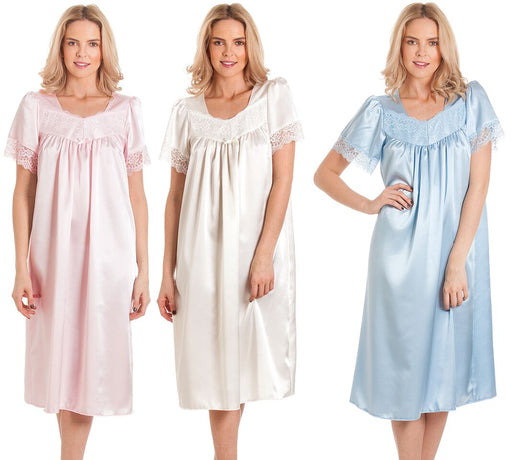 Ladies Satin Short Sleeve Nightdress With Lace Trim