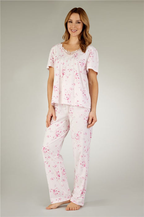 Large Pastel Print Tailored Pyjamas By Slenderella