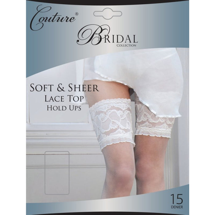 Deep Lace Top Bridal Hold Ups Couture By Silky