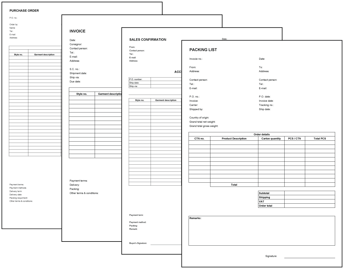 Download Templates From Fashionary - Word doc invoice template download silhouette online store