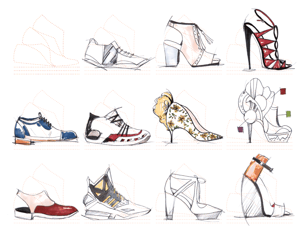 fashion sketchbook with templates - fashionary shoes a5