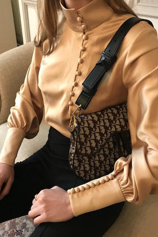 Satin Mandarin Blouse - Gold