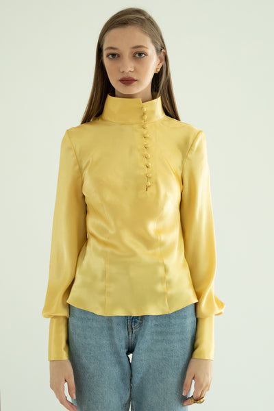 Silk Mandarin Blouse - Honey
