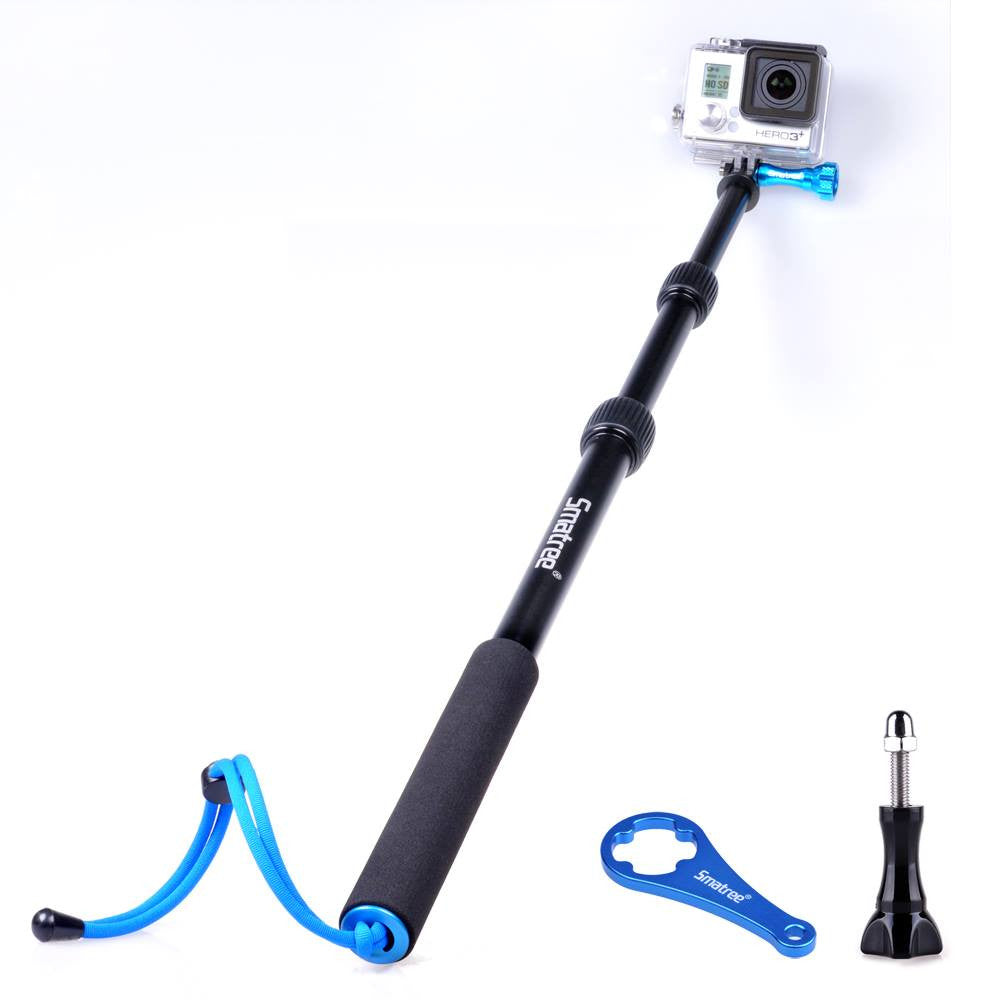 Smatree® SmaPole S1 All-aluminum alloy GoPro Pole Handheld Pole integrated with aluminium alloy Tripod mount and Nut (16″ to 40″ Extension) for GoPro Hero 4, Hero 3+, Hero 3, Hero 2, Hero 1 HD, SJ4000, SJ5000