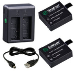 Smatree 1100mAH Rechargeable Battery(2-Pack) and Mini Dual Charger with USB Cable for SJ4000, SJ5000, SJ6000 SJCAM Camcoder