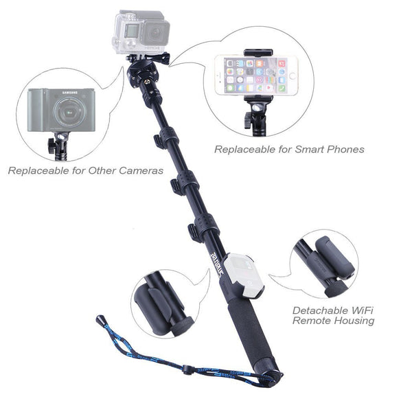 "Smatree SmaPole Y2 Telescoping Pole(17.5″ to 48.5″)+Support Stand for GoPro Hero, Hero4, 3+, 3, 2, 1 HD Cameras & 1/4"" Threaded Hole Compact Cameras & Cell Phones"