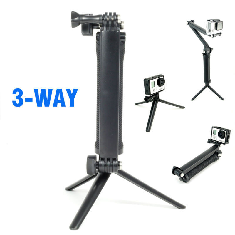 Adjustable 3 Way Handle Monopod for Gopro / SJ4000 Action Cameras