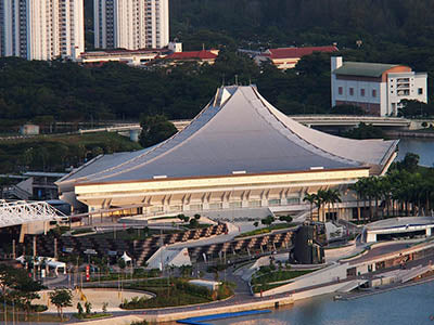 Singapore Indoor Stadium Drone Footage