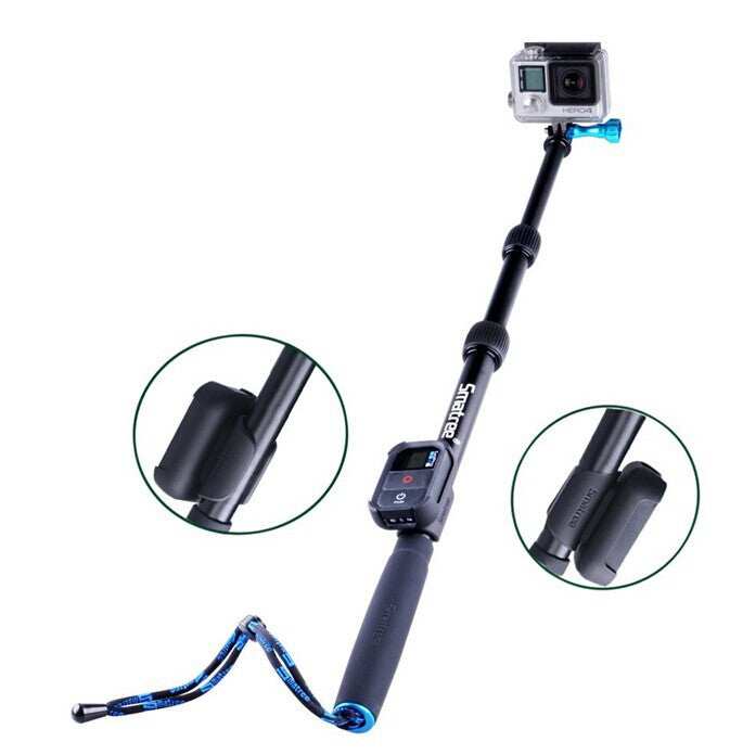 Smatree SmaPole S2 All-aluminum Gopro Handheld Pole (16″to 40″ Extension) + Smatree WiFi Remote Protective ClipCase
