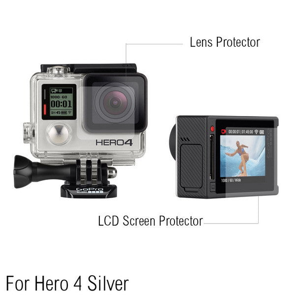 Gopro 4 Silver Case Lens and Screen Protector Film